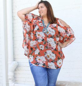 Floral V-Neck Cold Shoulder Tunic