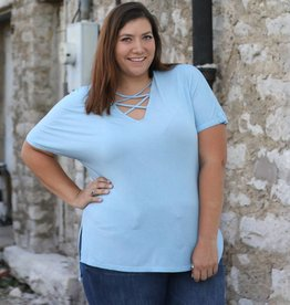 Distressed Criss Cross V-Neck Tee
