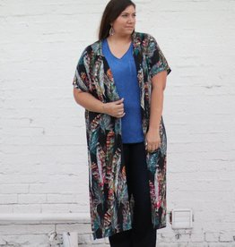 Black Bright Feather Kimono