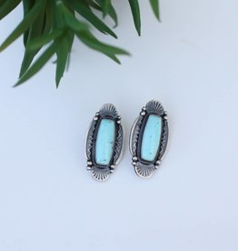 Sterling Silver Rectangle Turquoise Stone Earrings