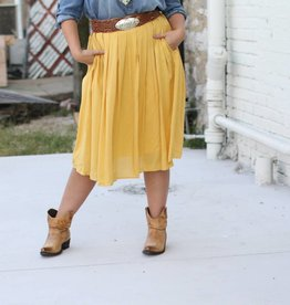 Mustard Pleated Skirt