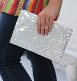 Acid Wash Cowhide Foldover Clutch