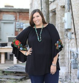 Black Tunic Flower Embroidered Sleeve
