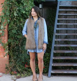 Black Swan Brown Faux Fur Vest with Pockets