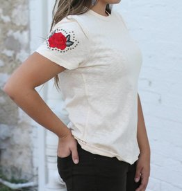 Cream Tee with Embroidered Sleeve Detail