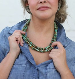 "Green Turquoise 23"" Oval Bead Necklace"