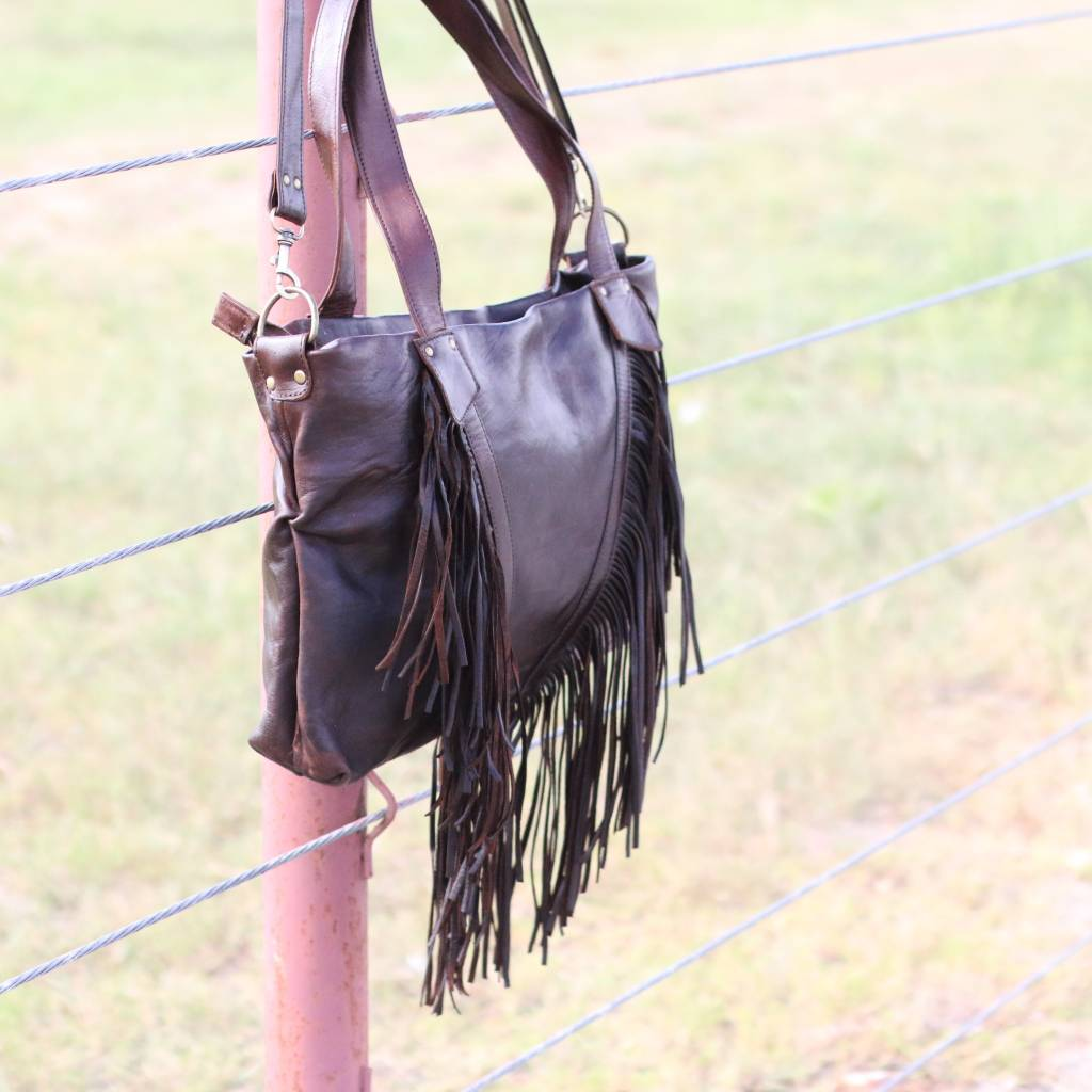 Hawa Leather Fringe Bag