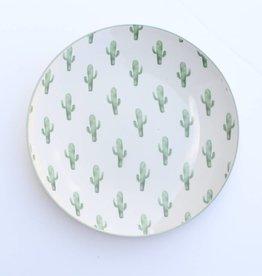 """8"""" Round Ceramic Jade Plate w/Cactus"""
