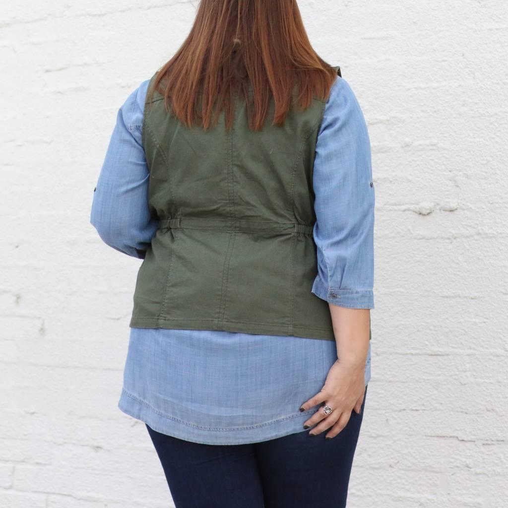 Plus Size Olive Cargo Vest w/ Detachable Fur