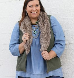 Plus Size Olive Cargo Vest w/ Detachable Fur