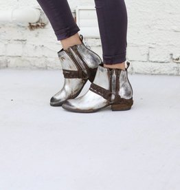 Women's Metallic Distressed Ankle Bootie