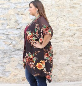 Floral Velvet Burnout Duster
