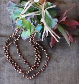 """3 Strand Bronze Keishi Pearls & Teal Necklace 18"""""""