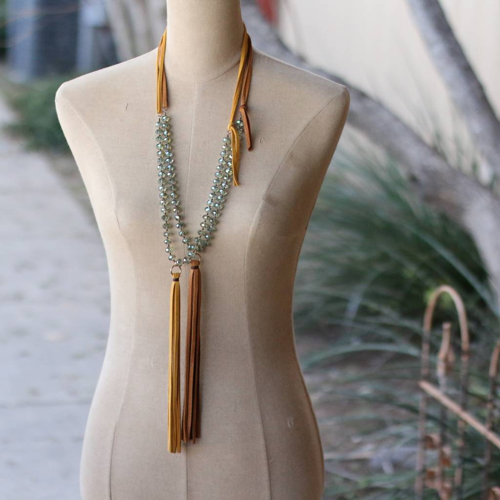 Peacock Crystal w/ Tassel Necklace 28""