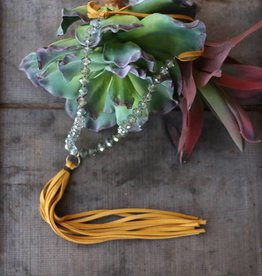 Peacock Crystal w/ Tassel Necklace 24""