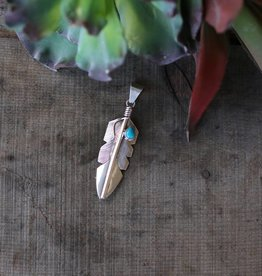 CC Teardrop Turquoise Feather Pendant