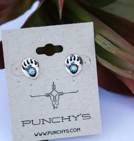 Bear Paw with Turquoise Stud Earring