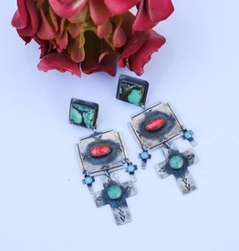 Turquoise Spiny Oyster Cross Dangle Earring