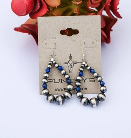 Mini Navajo Pearl & Lapis Teardrop Earring
