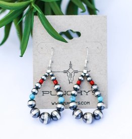 Mini Navajo Pearl, Turquoise & Red Teardrop Earring