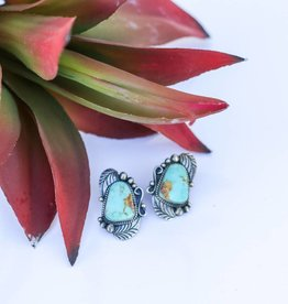 Old Pawn Carico Lake Turquoise Studs