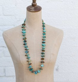 Rock Turquoise Necklace with Round Turquoise Beads