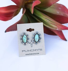 Small Sterling Silver Stud Earrings Turquoise Stone with Stamped Silver Flower Border