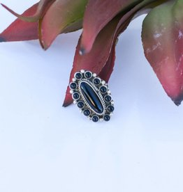 Sterling Silver Black Onyx Oval Stone Ring