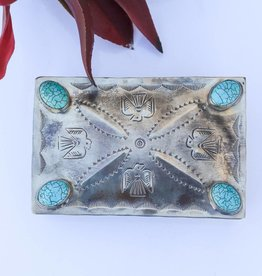 Thunderbird Stamped Box with 4 Turquoise