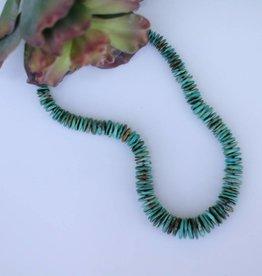 Kingman Turquoise Disk Bead Necklace