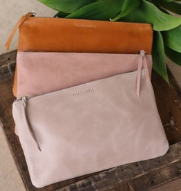 Medium Leather Zippered Clutch