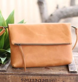 Foldover Leather Crossbody Purse