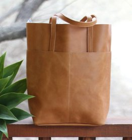 Magazine Two Pocket Leather Tote