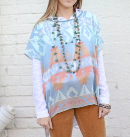 Adobe Tribal Print Poncho