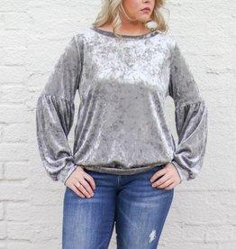 Crushed Velvet Grey Sweatshirt