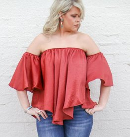 Satin Strapless Ruffle Sleeve Top
