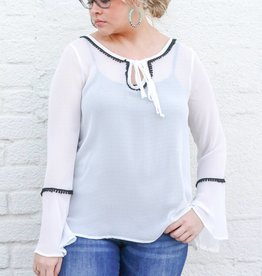 Ariat Sheer White Bell Sleeve Top