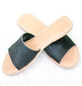 Black Cowhide Slide Sandals