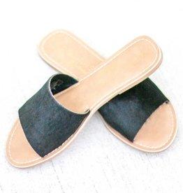 Black Cowhide Slide Sandals