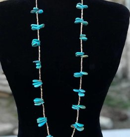 Teardrop Turquoise and Heishe Necklace 39in