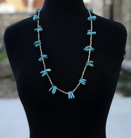 Teardrop Turquoise and Heishe Necklace 28.5in