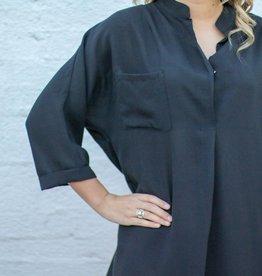 Linen Black Blouse
