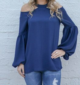 Navy Cold Shoulder Balloon Sleeve Top
