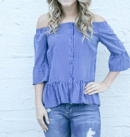 Off the Shoulder Blue and White Striped