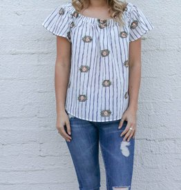 Pinstripe Aztec Stitch Top