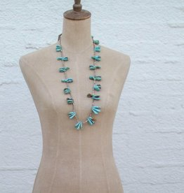 Teardrop Turquoise and Heishe Necklace 32in