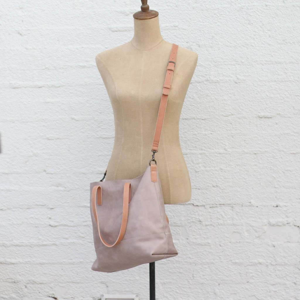 Two Tone Leather Crossbody Bag