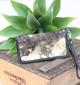Gold & Black Acid Wash Zipper Wallet