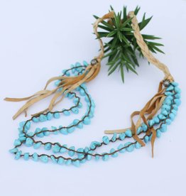 Sleeping Beauty Turquoise and Leather Necklace