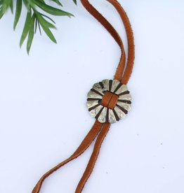 Leather Bolo Necklace with Concho